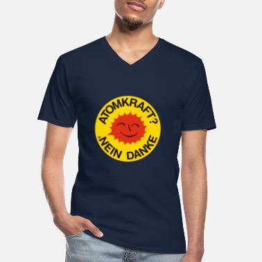 Nuclear Nuclear power? No thank you! Logo smiling sun - Men's V-Neck T-Shirt