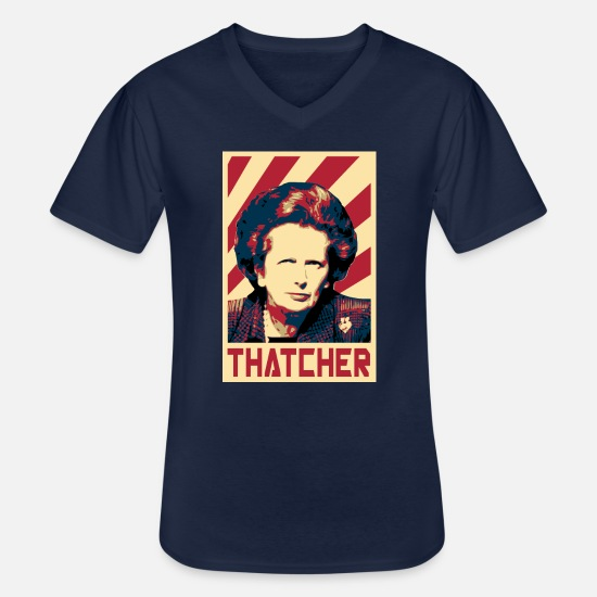 England T-Shirts - Margaret Thatcher Retro Propaganda - Men's V-Neck T-Shirt navy