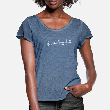 Heartbeat music white - Women's Ruffle T-Shirt