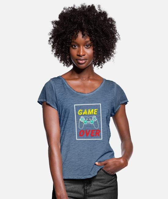 Black Friday T-shirts - Game over - Vrouwen T-shirt met zwierige mouwen vintage denim