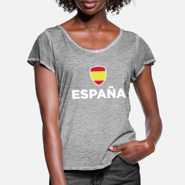 Mandapeno Spain Emblem Small 1 (3c, NEU) - Women's Ruffle T-Shirt