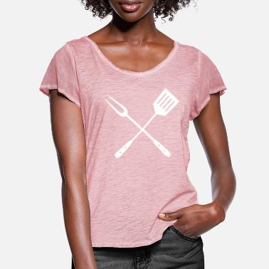Utensil Grill utensils - Women's Ruffle T-Shirt