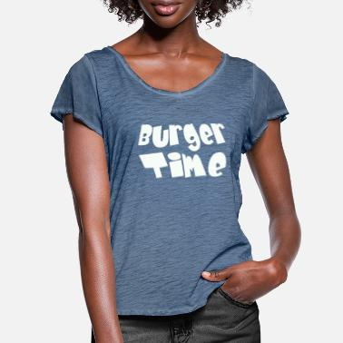 Burger Time - white - Women's Ruffle T-Shirt