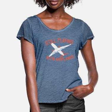 Flight Airplane airport games with aircraft gift - Women's Ruffle T-Shirt