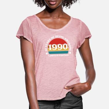 Awesome 30 Years Of Being Awesome 1990 T-Shirt - Women's Ruffle T-Shirt