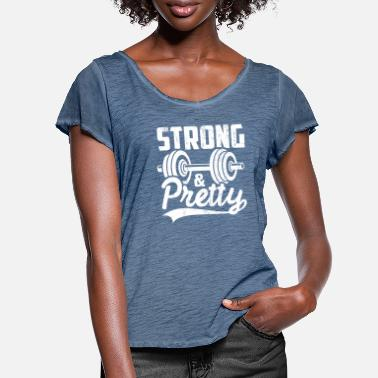 Pretty strong and pretty gym girl shirt - Women's Ruffle T-Shirt