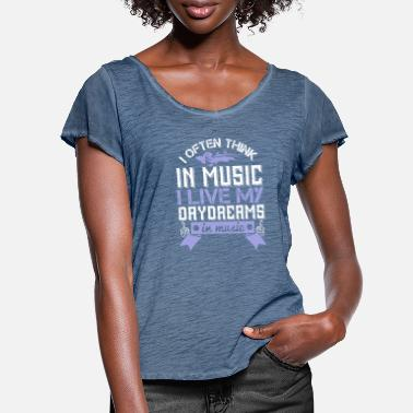 Musical Instrument Violin - I live my daydreams in music - Women's Ruffle T-Shirt