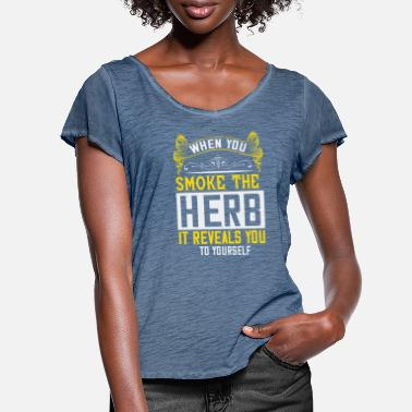 Canada T-shirt When You Smoke the Herb It Reveals You ... - T-shirt mancherons évasés Femme