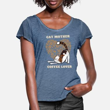 Herzig Cat Mother Coffee Lover - Frauen T-Shirt mit Flatterärmeln