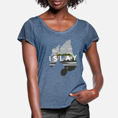 Islay Vintage Travel Poster - Women's Ruffle T-Shirt
