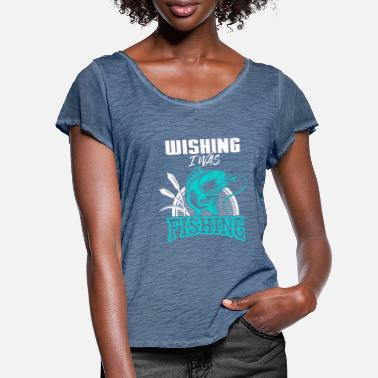 Watermelon Wishin I Was Fishin Funny Fishing Lover T Shirt - Women's Ruffle T-Shirt