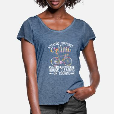 Funny Unicorn Forecast Cycling With No Chance Of House Cleaning - Frauen T-Shirt mit Flatterärmeln