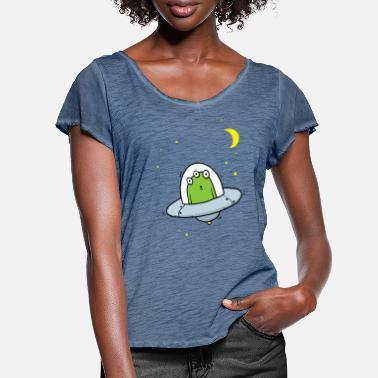 Flying Visit Alien With Stars - Women's Ruffle T-Shirt