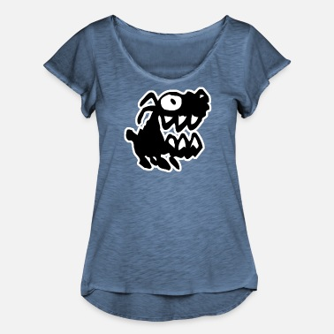 Bow Wow Bow Wow! Black Cartoon Dog by Cheerful Madness!! - Women's Ruffle T-Shirt