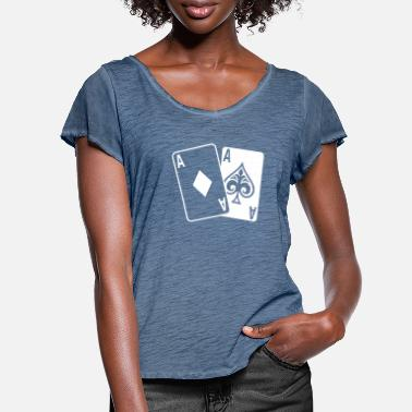 Playing Poker Cards - Women's Ruffle T-Shirt