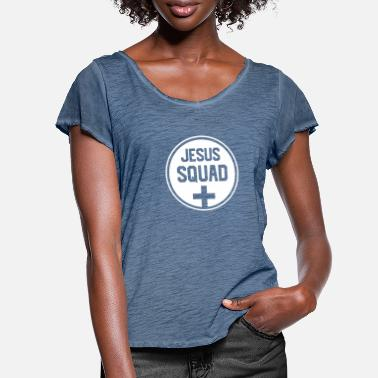 Pray Jesus Squad Christian Religion Faith Pray Bible - Women's Ruffle T-Shirt
