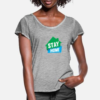 Muster Stay at home 01 - Frauen T-Shirt mit Flatterärmeln