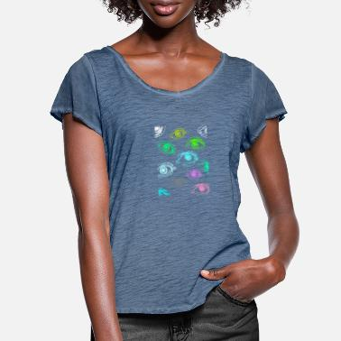 Rectangle Eyes, Abstract, Painted, Lineart, Rectangle, Art - Women's Ruffle T-Shirt