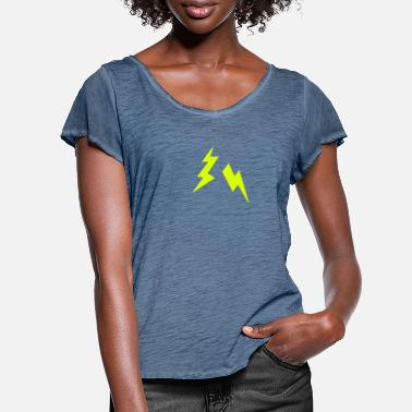 Lightning Lightning bolt icon 2905 - Women's Ruffle T-Shirt