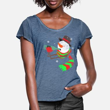 Drinks Christmas drink snowman holiday gift - Women's Ruffle T-Shirt
