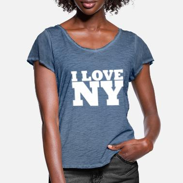 I Love Ny NY - NYC - NEW YORK - I Love NY - I Love NY - Women's Ruffle T-Shirt