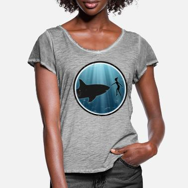 Great White Shark Great White Shark Great White Shark - Women's Ruffle T-Shirt