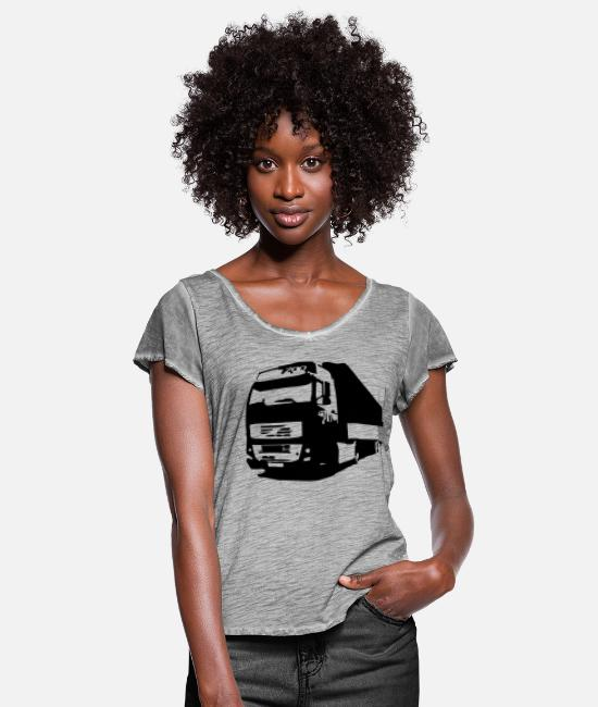 Miscellaneous T-Shirts - lorry - Women's Ruffle T-Shirt vintage grey