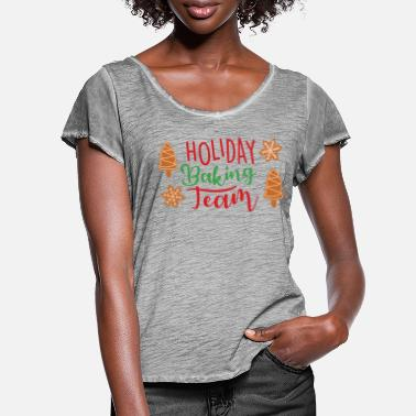Baghold Holiday Baking Team jul - Dame T-shirt med flagreærmer