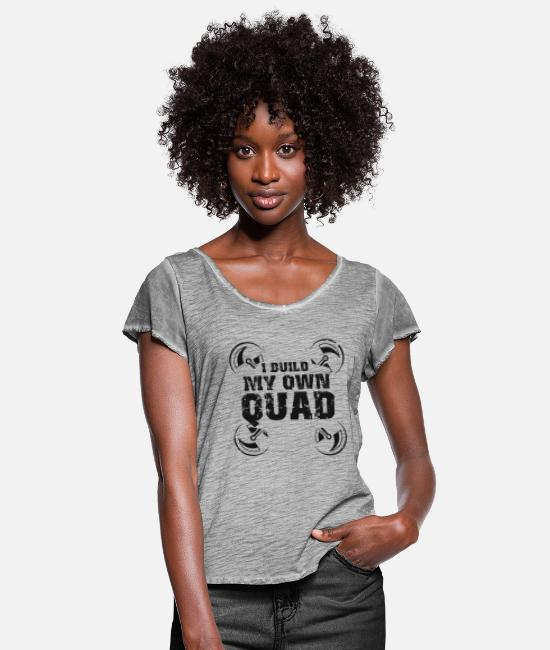 Quad T-Shirts - Drone - drone - drone flight - Women's Ruffle T-Shirt vintage grey