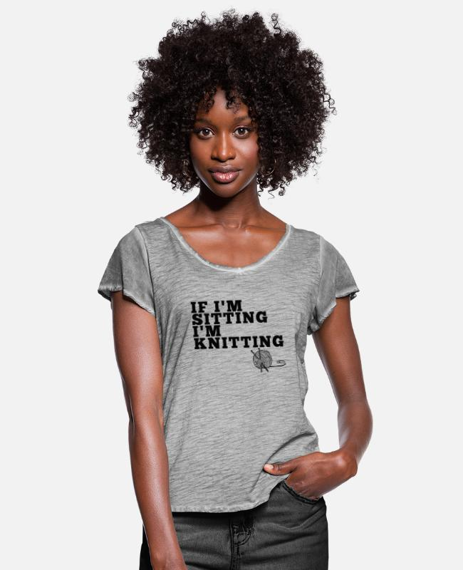 Miscellaneous T-Shirts - Sitting & Knitting - Women's Ruffle T-Shirt vintage grey