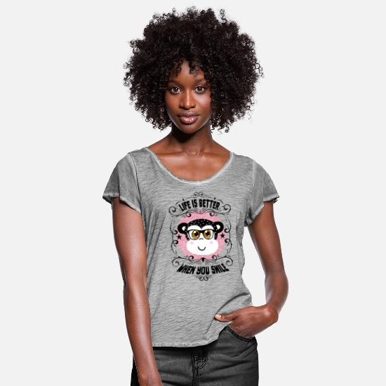 Birthday T-Shirts - Life is better when you smile - Women's Ruffle T-Shirt vintage gray