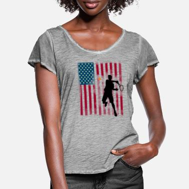 Us Open tennis us Open America flagg tibreak Spieler stern - Frauen T-Shirt mit Flatterärmeln