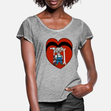 Workspace Heart tool professions commercial workspace job - Women's Ruffle T-Shirt