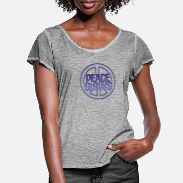 PEACE GLOWS BLUE! - Women's Ruffle T-Shirt