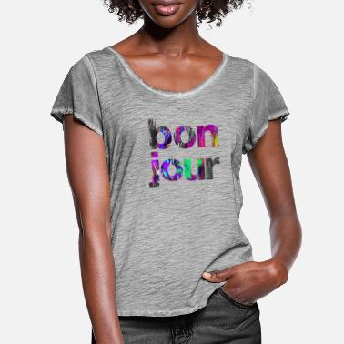 Electronica Iconic Statement Print: bonjour - Women's Ruffle T-Shirt