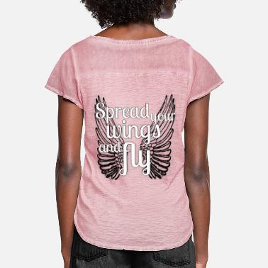 Spread spread your wings and fly - Frauen T-Shirt mit Flatterärmeln
