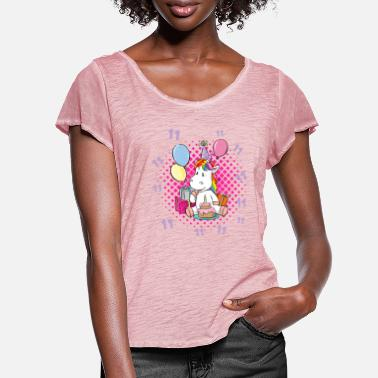 11th Birthday 11th Birthday Shirt Girl Unicorn - Women's Ruffle T-Shirt