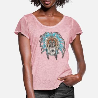 Headdress Wolf and Headdress - Women's Ruffle T-Shirt