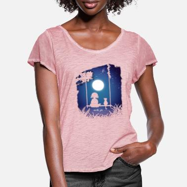 Ah, yes.... moon-addicted or romantic ?? - Women's Ruffle T-Shirt