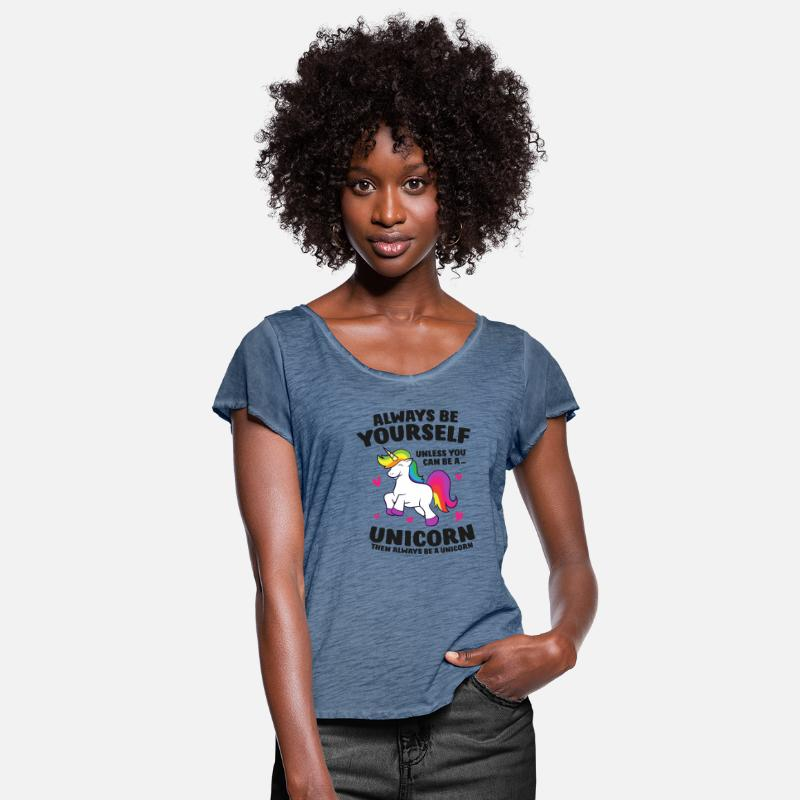 T-Shirt Tee V-Neck Ladies Always Be Yourself Unless You Can Be A Unicorn Then..
