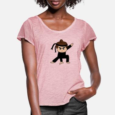 Cartoon ninja - Women's Ruffle T-Shirt