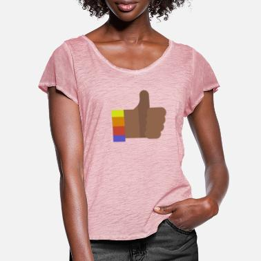Thumbs Pointing At Me Daumen hoch - Frauen T-Shirt mit Flatterärmeln