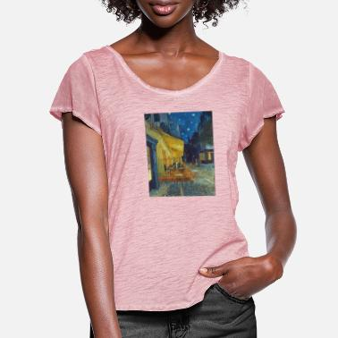 Painting Cafe terrace in the evening in Arles - Van Gogh - Women's Ruffle T-Shirt