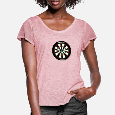 Premier premier games pixelated dartboard - Women's Ruffle T-Shirt