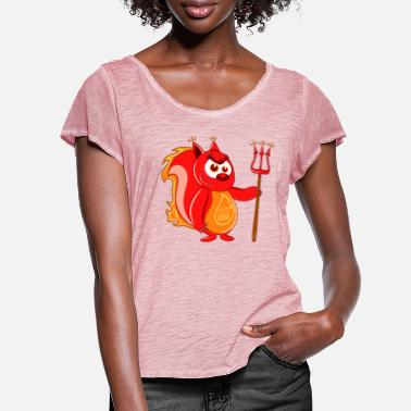 Devil Devil Squirrel - Frauen T-Shirt mit Flatterärmeln