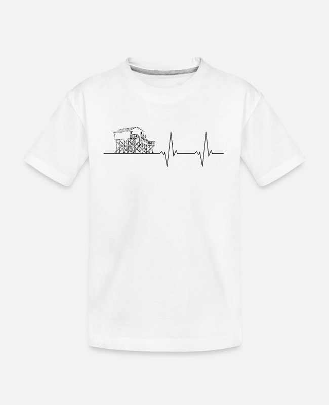 Pile Construction T-Shirts - Pulse line pile construction without text black - Teenager Organic T-Shirt white
