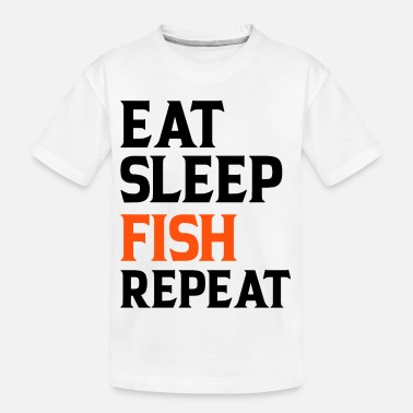 Hert Eet Sleep Fish Repeat - Teenager biologisch T-shirt