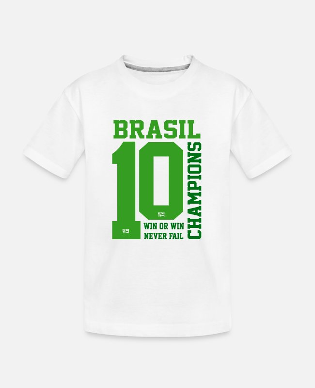 Brasil T-shirts - brasilteam10 - Teenager biologisch T-shirt wit