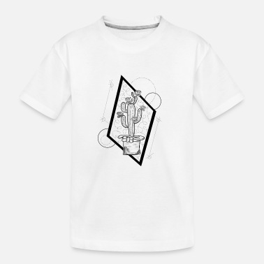 Kaktus Illustration grafisch mit Landschaft - Teenager Bio T-Shirt