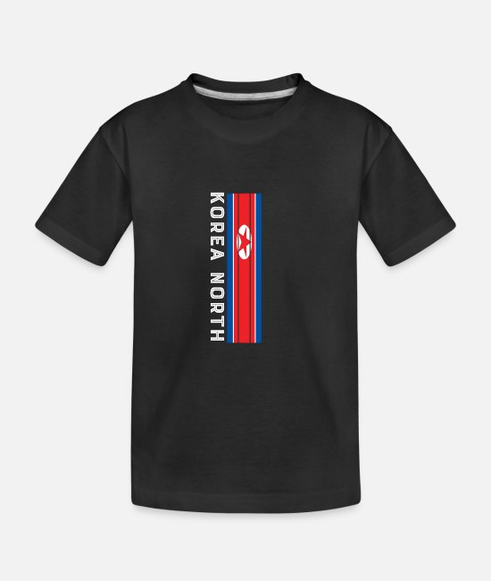 Korea North T-Shirts - korea nord national color in stripes - Teenager Organic T-Shirt black